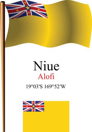 Niue bandiera e coordinate contro sfondo bianco ondulato, illustrazione vettoriale arte, immagine contiene trasparenza