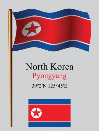 north korea wavy flag and coordinates against gray background, vector art illustration, image contains transparency