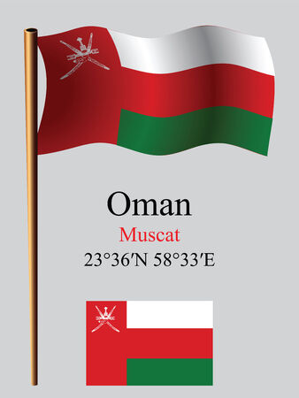 oman wavy flag and coordinates against gray background, vector art illustration, image contains transparency