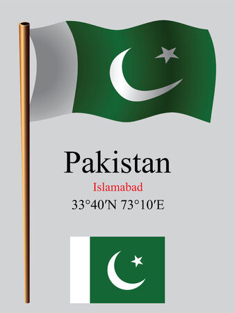 coordinates: pakistan wavy flag and coordinates against gray background, vector art illustration, image contains transparency