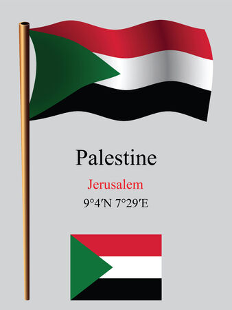 palestine: palestine wavy flag and coordinates against gray background, vector art illustration, image contains transparency