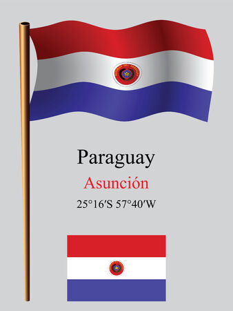 coordinates: paraguay wavy flag and coordinates against gray background, vector art illustration, image contains transparency Illustration