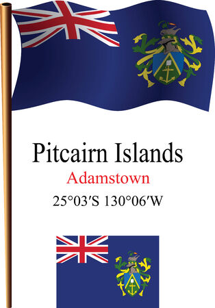 pitcairn: pitcairn islands wavy flag and coordinates against white background, vector art illustration, image contains transparency