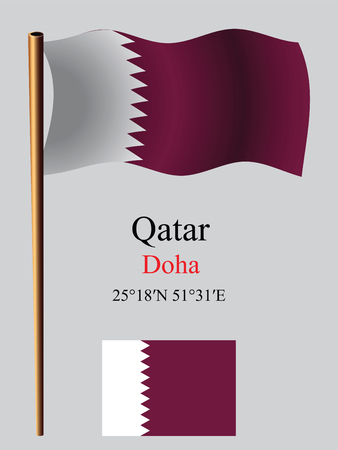 doha: qatar wavy flag and coordinates against gray background, vector art illustration, image contains transparency