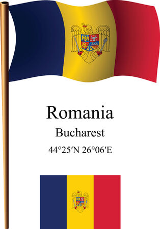 romania wavy flag and coordinates against white background, vector art illustration, image contains transparency Ilustracja