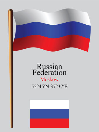 coordinates: russian federation wavy flag and coordinates against gray background, vector art illustration, image contains transparency