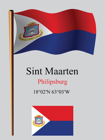 saint martin wavy flag and coordinates against gray background, vector art illustration, image contains transparency Çizim