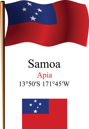 coordinates: samoa wavy flag and coordinates against white background, vector art illustration, image contains transparency