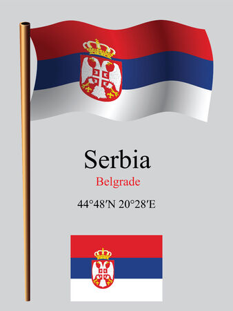 serbia wavy flag and coordinates against gray background, vector art illustration, image contains transparency Vector