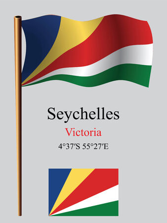 seychelles: seychelles wavy flag and coordinates against gray background, vector art illustration, image contains transparency