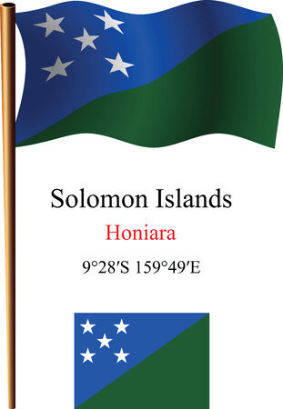 coordinates: solomon islands wavy flag and coordinates against white background, vector art illustration, image contains transparency
