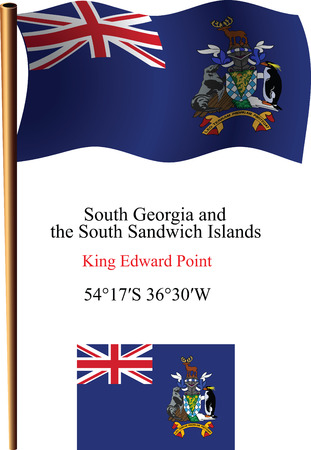 south georgia and south sandwich islands wavy flag and coordinates against white background, vector art illustration, image contains transparency