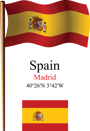 spain wavy flag and coordinates against white background, vector art illustration, image contains transparency Çizim