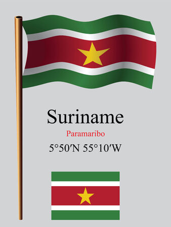 suriname: suriname wavy flag and coordinates against gray background, vector art illustration, image contains transparency