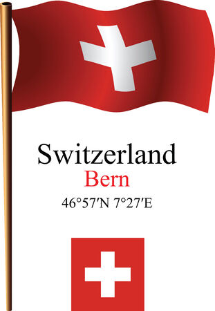coordinates: switzerland wavy flag and coordinates against white background, vector art illustration, image contains transparency