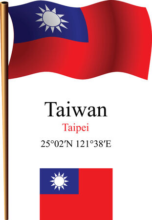 coordinates: taiwan wavy flag and coordinates against white background, vector art illustration, image contains transparency