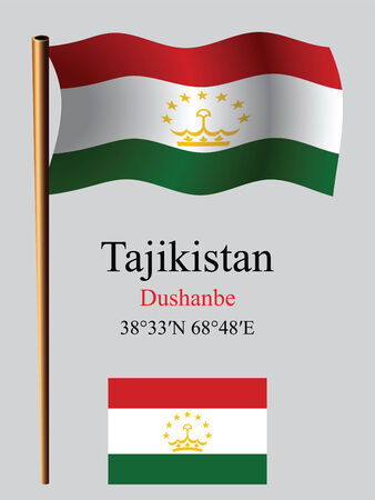 tajikistan wavy flag and coordinates against gray background, vector art illustration, image contains transparency Ilustracja