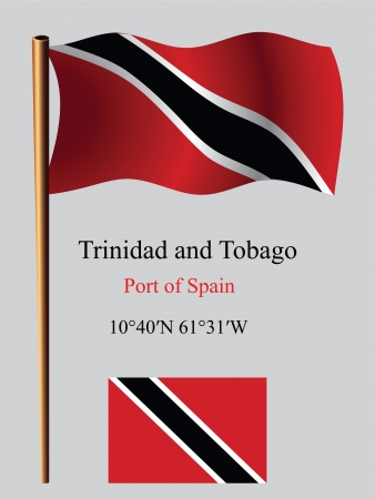port of spain: trinidad and tobago wavy flag and coordinates against gray background, vector art illustration, image contains transparency