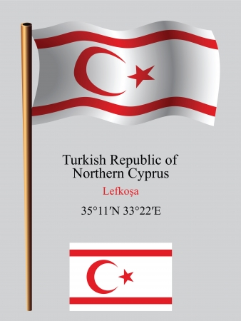 turkish republic of northern cyprus wavy flag and coordinates against gray background, vector art illustration, image contains transparency