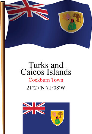 turks and caicos islands wavy flag and coordinates against white background, vector art illustration, image contains transparency
