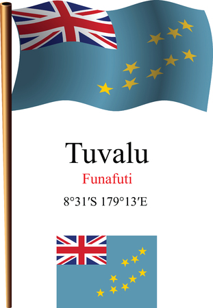 tuvalu wavy flag and coordinates against white background, vector art illustration, image contains transparency