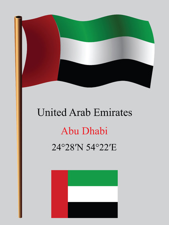 coordinates: united arab emirates wavy flag and coordinates against gray background, vector art illustration, image contains transparency Illustration