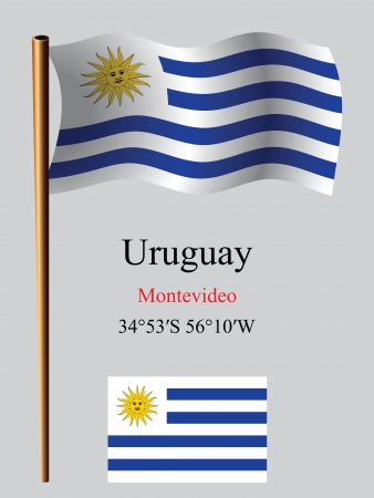 coordinates: uruguay wavy flag and coordinates against gray background, vector art illustration, image contains transparency Illustration