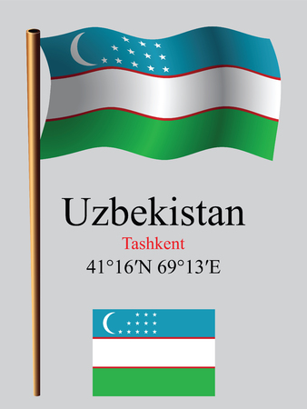 uzbekistan wavy flag and coordinates against gray background, vector art illustration, image contains transparency