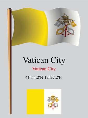 vatican city wavy flag and coordinates against gray background, vector art illustration, image contains transparency