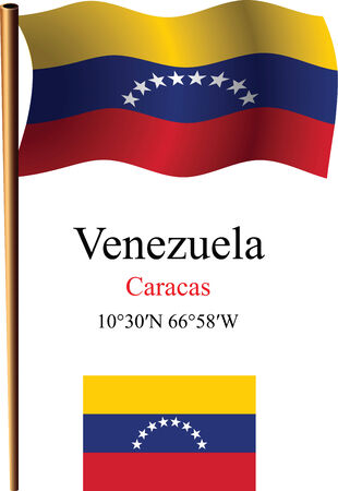 venezuela wavy flag and coordinates against white background, vector art illustration, image contains transparency