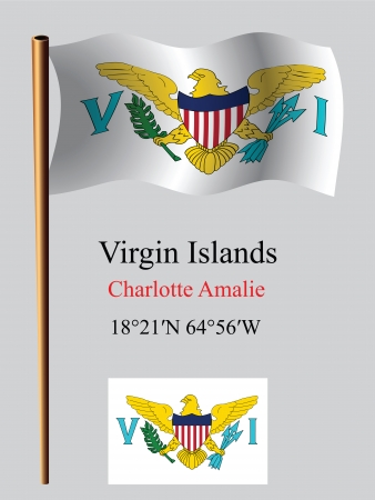 virgin islands wavy flag and coordinates against gray background, vector art illustration, image contains transparency Vector