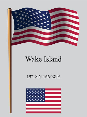 coordinates: wake island wavy flag and coordinates against gray background, vector art illustration, image contains transparency