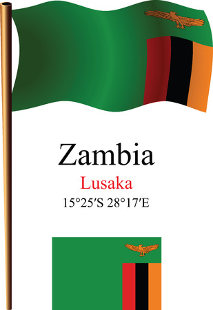 zambia wavy flag and coordinates against white background, vector art illustration, image contains transparency