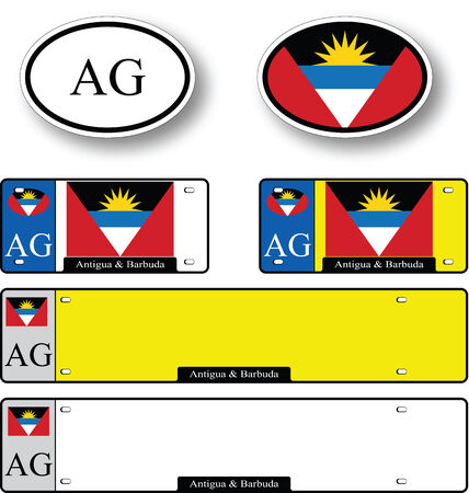 licence: antigua and barbuda auto set against white background, abstract vector art illustration, image contains transparency
