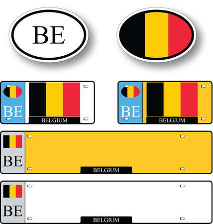 licence: belgium auto set against white background, abstract vector art illustration, image contains transparency