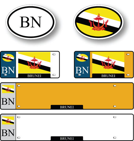 licence: brunei auto set against white background, abstract vector art illustration, image contains transparency