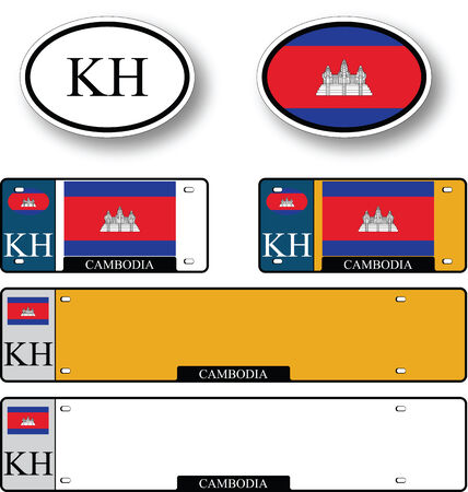 licence: cambodia auto set against white background, abstract vector art illustration, image contains transparency Illustration