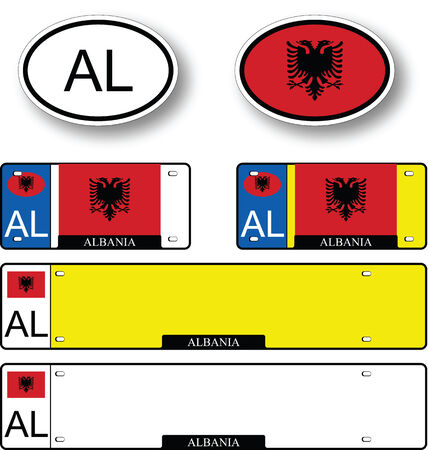 licence: albania auto set against white background, abstract vector art illustration, image contains transparency