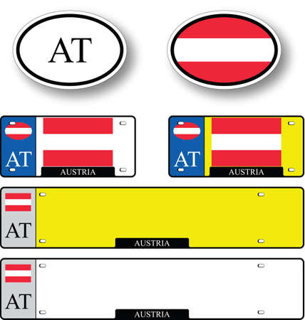 licence: austria auto set against white background, abstract vector art illustration, image contains transparency