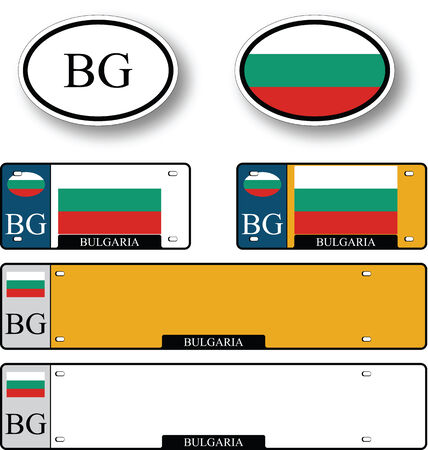 bulgaria auto set against white background, abstract vector art illustration, image contains transparency 向量圖像