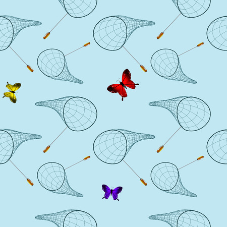butterfly net pattern, abstract seamless texture, vector art illustration Illustration