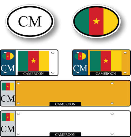 licence: cameroon auto set against white background, abstract vector art illustration, image contains transparency