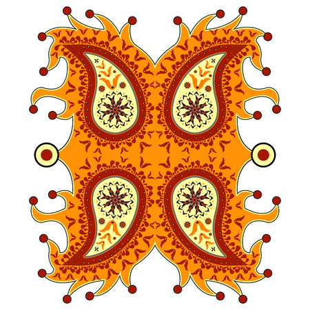 ornamental floral paisley against white background, abstract vector art illustration
