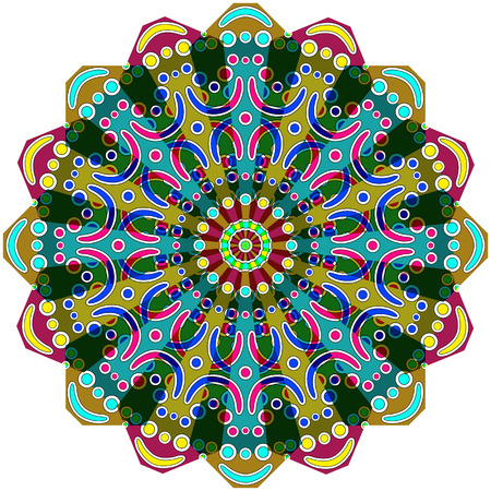 round geometrical ornament against white background, abstract vector art illustration Illusztráció