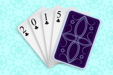4 of a kind: 2015 playing cards against white background, abstract vector art illustration; image contains transparency
