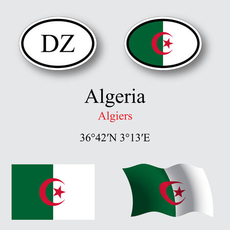 licence: algeria flags and icons set over gray background, abstract vector art illustration, image contains transparency