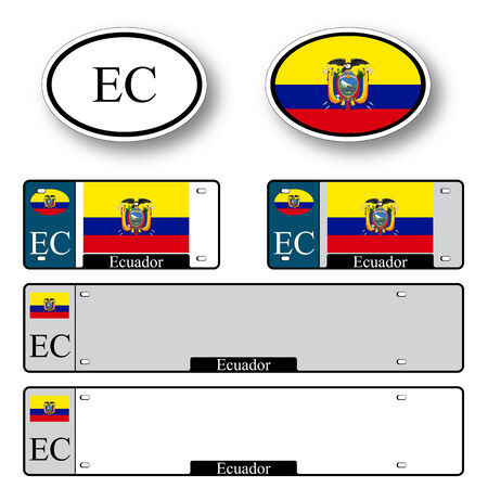 licence: ecuador auto set against white background, abstract vector art illustration, image contains transparency Illustration
