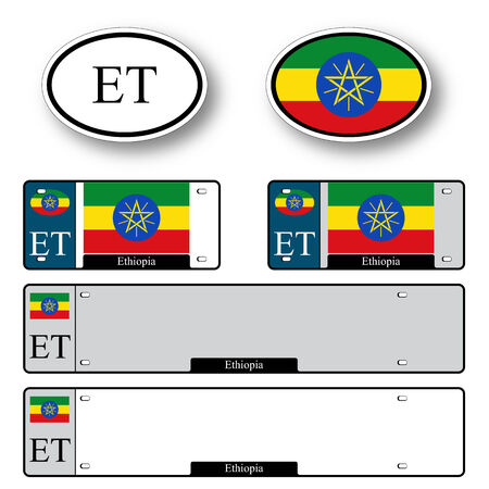 licence: ethiopia auto set against white background, abstract vector art illustration, image contains transparency Illustration