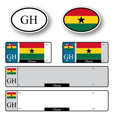 licence: ghana auto set against white background, abstract vector art illustration, image contains transparency Illustration