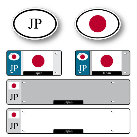 licence: japan auto set against white background, abstract vector art illustration, image contains transparency Illustration